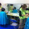 避難所でヘアカットとネイルのサービスを提供しました